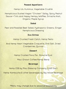 Hemplicious dinner menu. Courtesy image.
