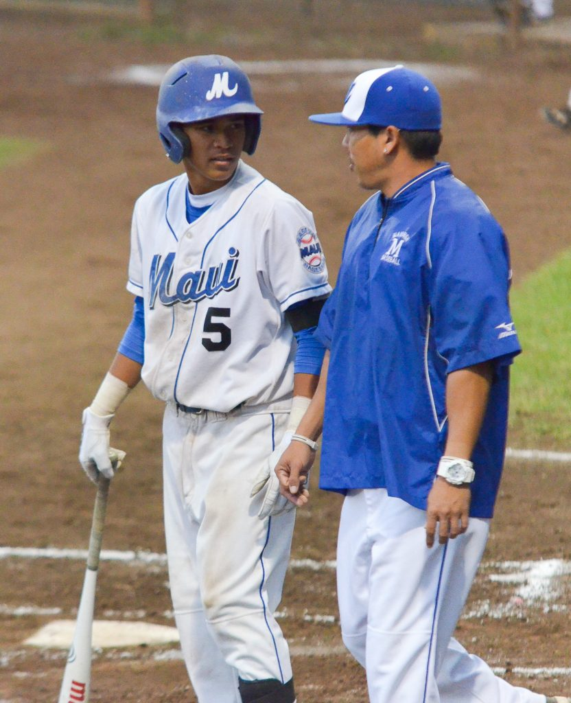 Maui High School junior infielder Kao Mindoro will help lead the Sabers today when they face Pearl City at Maehara Stadium, beginning at 7 p.m. File photo by Rodney S. Yap.