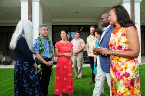 Gov. David Ige talks to representations from MEDB and Microsoft: (left to right) Leslie Wilkins, MEDB vice president; Gov. David Ige; Jeanne Skog, MEDB president andCEO; Ned Davis, MEDB chairman of the board; Todd Beard, Microsoft innovative educator fellow; Hawai'i First LadyDawn Amano-Ige; Cameron Evans,chief technology officer at Microsoft; and Celeste Alleyne, director of citizenship andpublic affairs at Microsoft.Photo credit: Casey Nishikawa