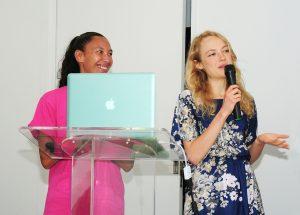 Dawn Naiwi-Valentino and Zoe Whitney presented Maui Buzz Kill, a natural anti-mosquito perfume and cologne, during the finals on Sunday. Photo credit: Casey Nishikawa