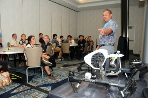 Students learned about sUAS (Small Unmanned Aerial Systems), commonly known as drones, in a breakout session led by George Purdy of Drone Services Hawaii. Courtesy photo.