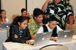 Hawaiian Language Immersion students from Moloka'i Middle and Moloka'i High Schools were among the 112 schools and organizations statewide who participated in the 2016 Hawai'i STEM Conference. Courtesy photo.
