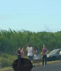 Motor Vehicle Accident Involving two Bicyclists on Hāna Hwy in Pāʻia. Photo credit: Quina Ehukaimoana Kurosawa.
