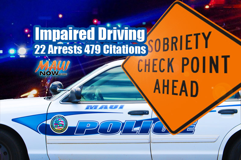 Impaired Driving Enforcement. Maui Now graphic.