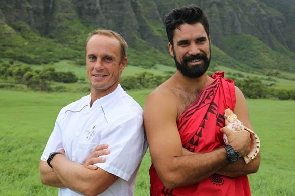 (L to R) SEARCH Hawaii's Chef Mike Lofaro and Kainoa Horcajo of Maui lead us on a search to fish, hunt, forage and gather ingredients all over the Hawaiian islands for their dinner based on the Hawaiian Moon Calendar.
