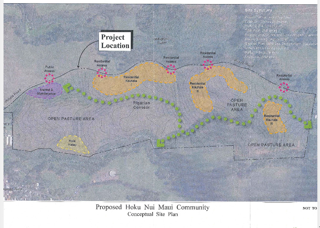 Proposed Hoku Maui Nui Community conceptual plan. Image courtesy Munekiyo Hiraga, Draft EA.