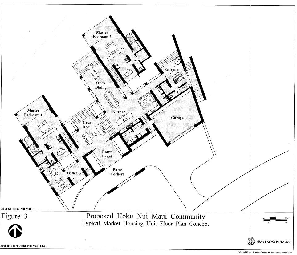 Proposed Hoku Maui Nui Community - Typical Market Housing unit floor plan concept. Image courtesy Munekiyo Hiraga, Draft EA.