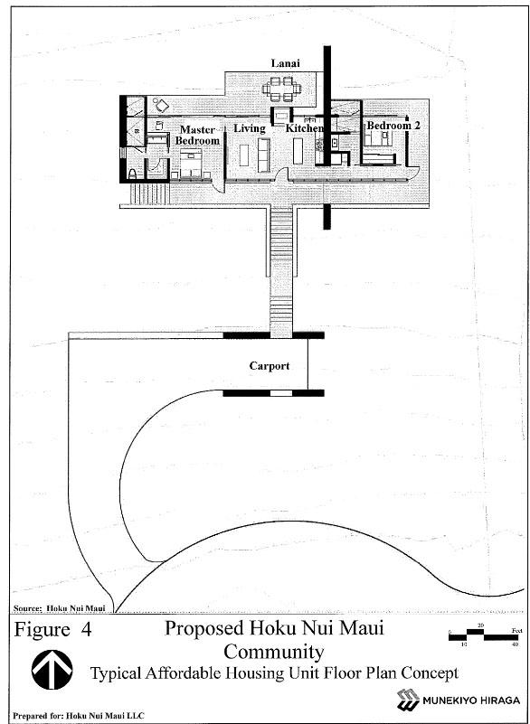 Proposed Hoku Maui Nui Community - Typical affordable housing unit floor plan concept. Image courtesy Munekiyo Hiraga, Draft EA.