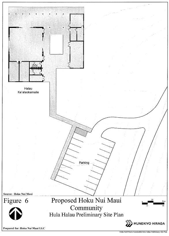 Proposed Hoku Maui Nui Community - Hula Hālau Preliminary site plan. Image courtesy Munekiyo Hiraga, Draft EA.