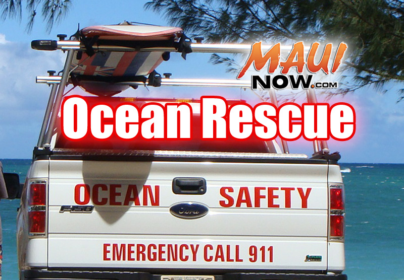 Maui Fire Department Rescues Adult & Two Kids on JetSki  Stalled off North Shore