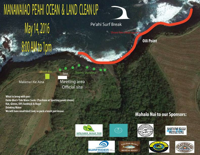 "Peʻahi ""Jaws"" beach cleanup. Image courtesy Surfrider Foundation Maui Chapter."