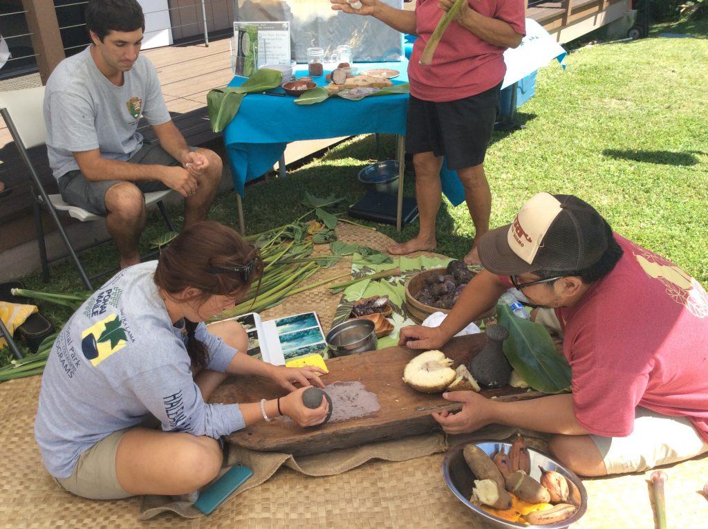 An ʻohana from Kīpahulu demonstrates pounding kalo into poi. Photo credit: Haleakalā National Park.