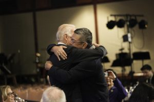 Vice President Joe Biden and Congressman Mark Takai share in an embrace following their exchange about Takai's pancreas cancer and the Vice President's late son, Beau. (File Photo courtesy of Phi Nguyen via office of US Rep. Mark Takai)