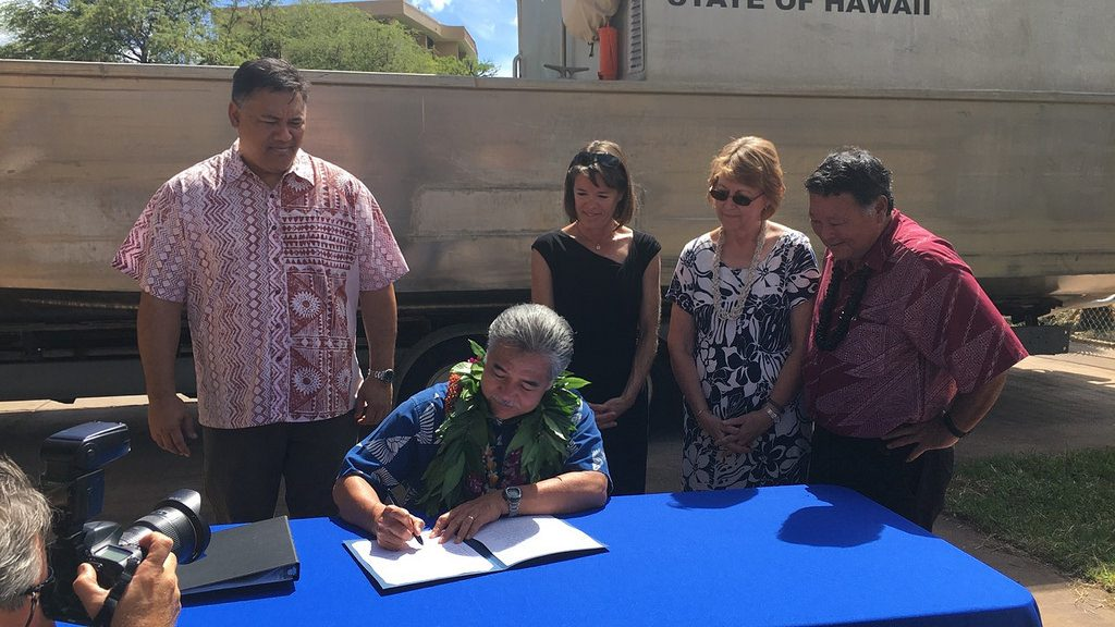 Governor David Ige signs Act 72 into law to fund restoration and preservation projects on Kahoʻolawe.