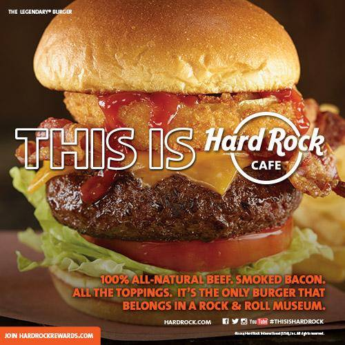 The Legendary Burger™ – Certified Angus Beef® patty topped with smoked bacon, cheddar cheese, a golden fried onion ring, crisp lettuce and vine ripened tomato, served on a toasted brioche bun with Hard Rock's seasoned fries. Burger is available to all first responders for $.71 Photo Courtesy.