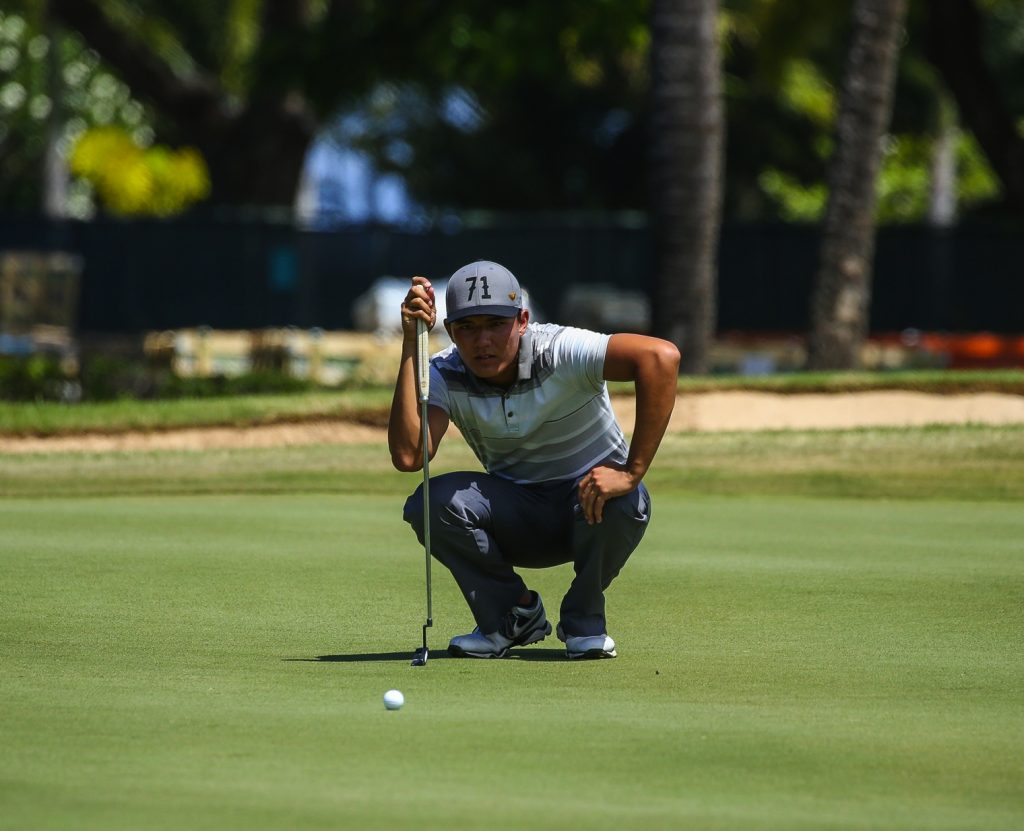 Alex Chiarella lines up his birdie putt on seventeen during the final round of the Kāanapali Classic Pro Pro held on the Royal Course. Kāanapali, Maui June 11, 2016. Photo credit: Aric Becker