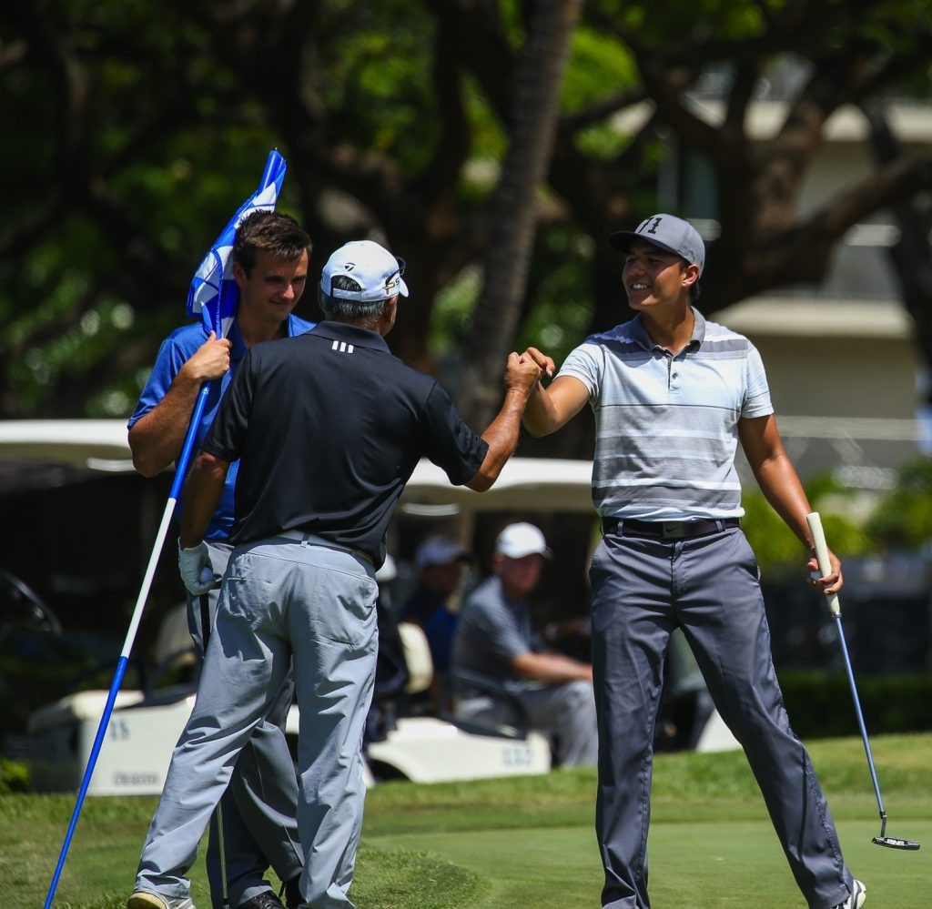 Alex Chiarella is congratulated on his birdie on seventeen during the final round of the Kāʻanapali Classic Pro Pro held on the Royal Course. Kaanapali, Maui June 11, 2016. Photo credit: Aric Becker