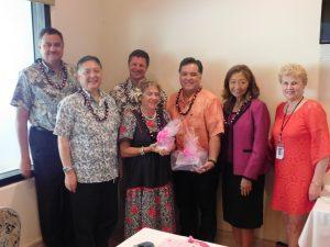 (From left) Cliff Alakai, Riki Hokama, Ned Davis, Adele Rugg, Kevin Yoshida, Lori Teragawachi and CEO Lyn McNeff. MEO photo.