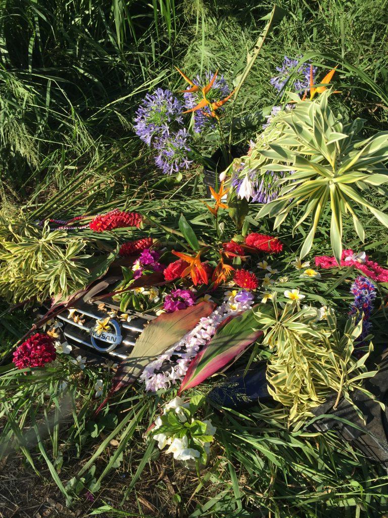 Roadside memorial at crash site. Photo credit: Nicole Schenfeld