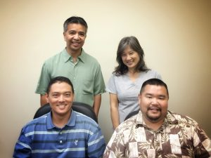 Four Maui County Department of Public Works engineers will be honored for their exemplary work in built environment improvements: (left to right, back) Nolly Yagin,Julie Lum, (front) Kurt Watanabe and Shane Agawa. NPAC photo.