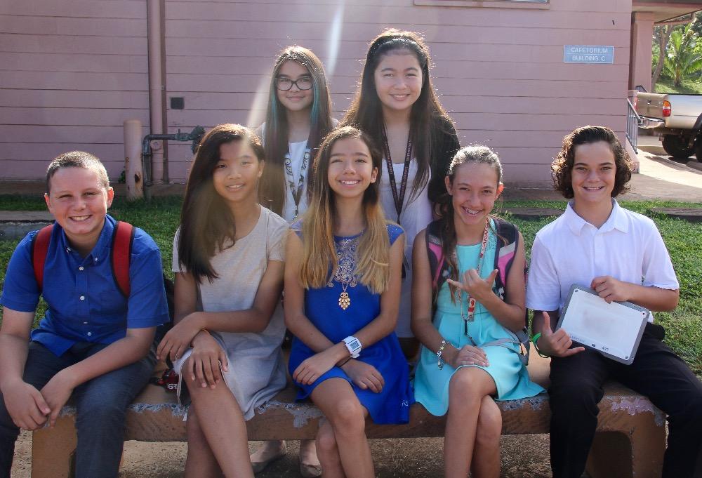 Students pictured: Riley Agtaguem; Luca Connor; Katelyn Gicale-Emden; Kaya Leonard; Cole LoGrande; Lily Oldham; and Teiva Miller.