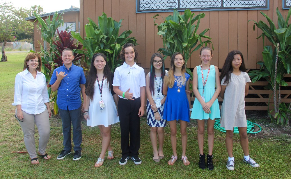 Students pictured: Riley Agtaguem; Luca Connor; Katelyn Gicale-Emden; Kaya Leonard; Cole LoGrande; Lily Oldham; and Teiva Miller.