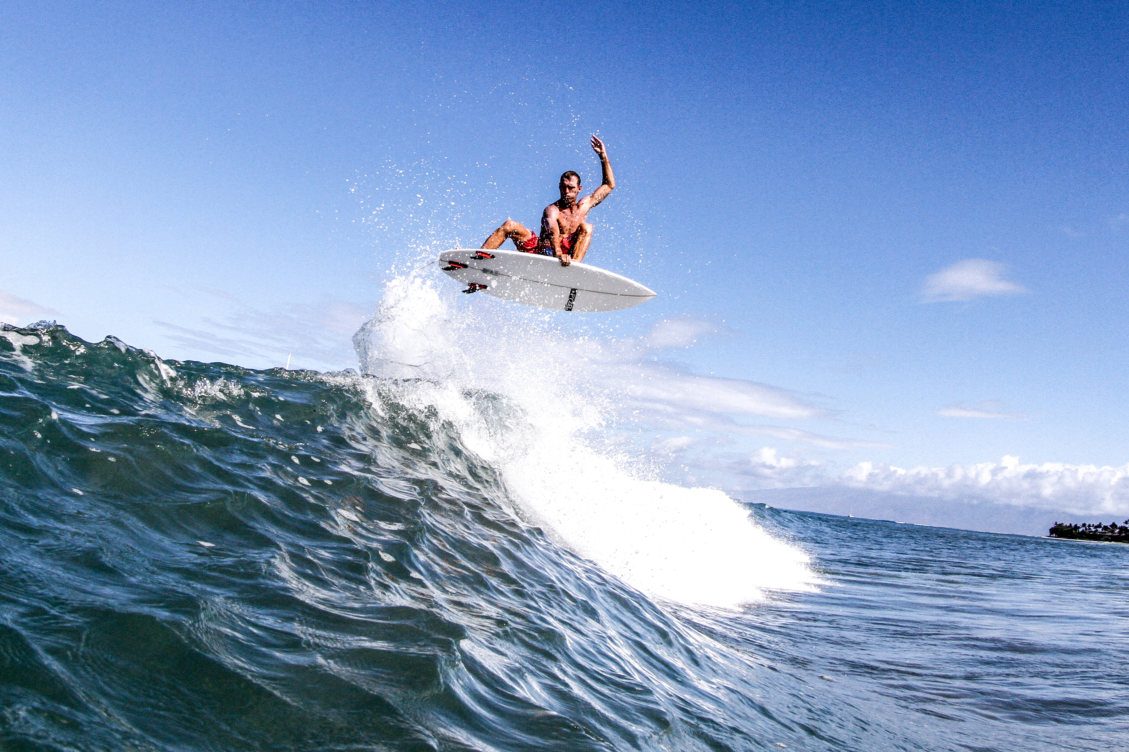 """Randy """"Goose"""" Welch pops off the top in Lahaina Photo: Justin Andrade"""