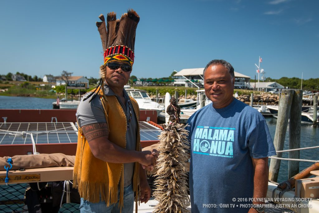 Hōkūleʻa's arrival at Block Island. (6.19.16) Photo credit: Polynesian Voyaging Society - ʻŌiwi TV - Photographer: Justyn Ah Chong