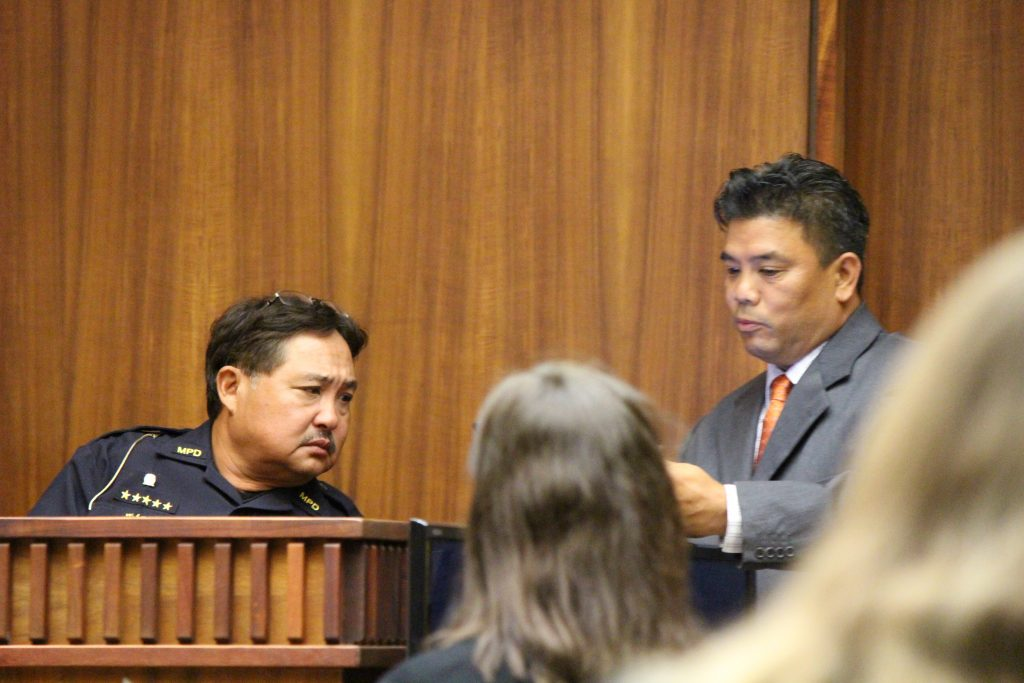 Sgt. Wendell Loo (left) with prosecutor Robert Rivera (right) (6.28.16) Photo by Wendy Osher.