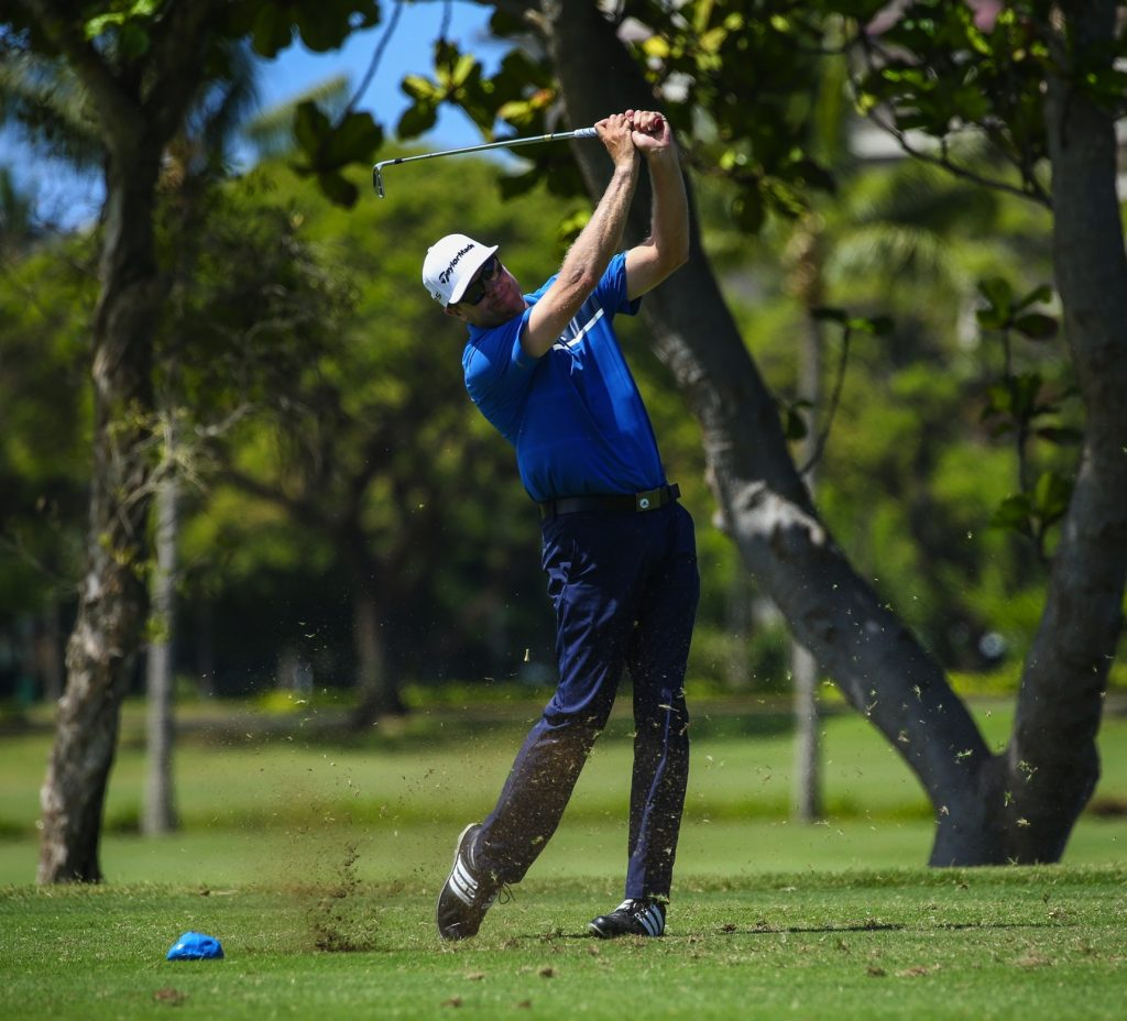 Kevin Carll tees off on number seventeen during the final round of the Kāanapali Classic Pro Pro held on the Royal Course. Kāanapali, Maui June 11, 2016. Photo credit: Aric Becker