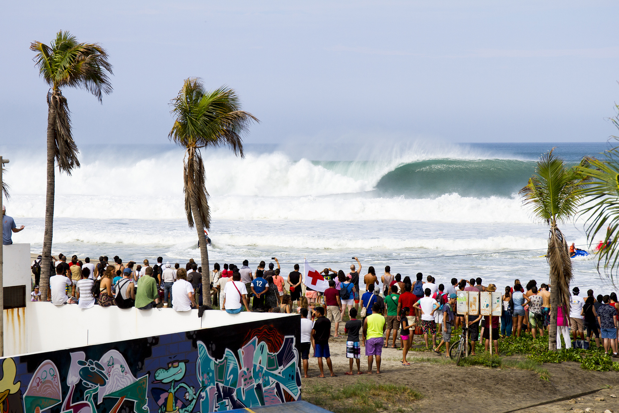 Thirty foot waves (ten meter) waves poured into Puerto Escondido that saw the Big Wave World Tour Puerto Escondido Challenge underunderway in Mexico on Friday July 25, 2016. PHOTO: © WSL/ Heff