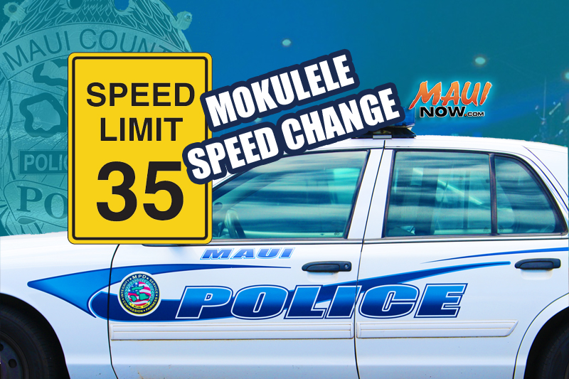 Mokulele Temporary Speed reduction. Maui Now graphic.