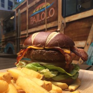 """Pailolo's """"Down Under Half-Pounder"""" with smoked bacon, Boars Head Vermont cheddar, Kula tomato, onion, Waipoli butter lettuce, pretzel bun and fries. Courtesy photo."""