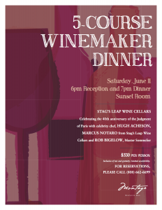 Wine Dinner with celebrity chef Hugh Acheson on June 11.  Courtesy image.