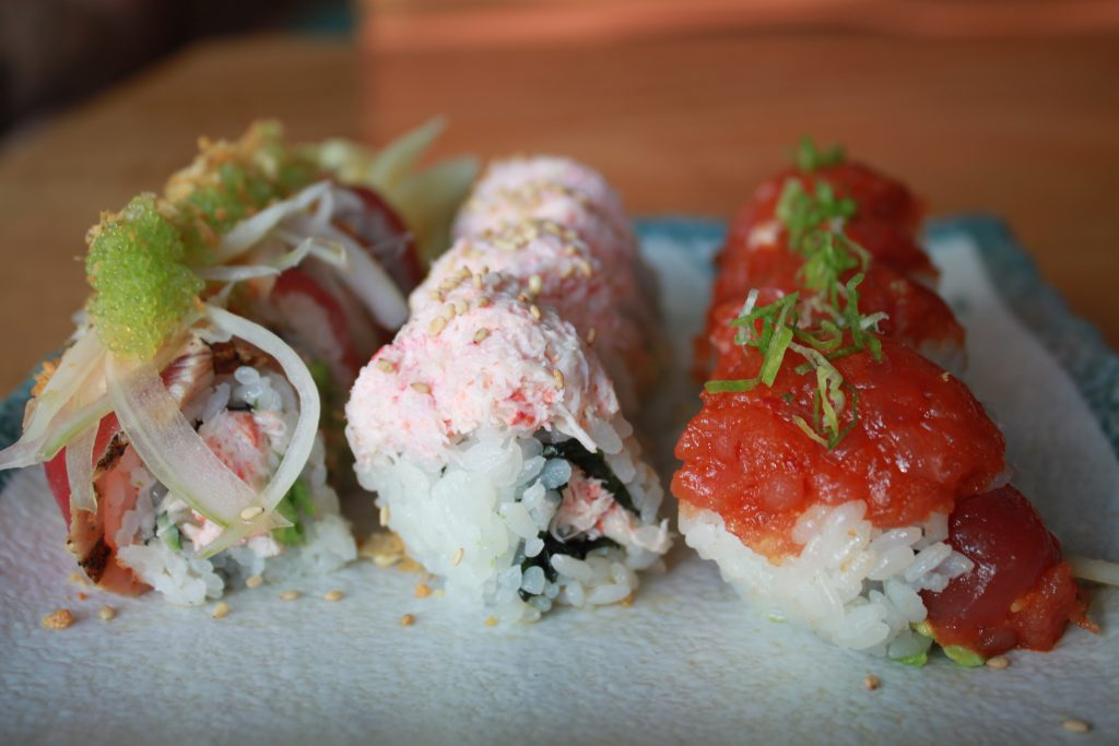 Japengo Maui's sushi trio in honor of International Sushi Day; featuring a California Roll, Spicy Tuna Roll and Blackened Ahi Roll for $24. Photo Courtesy.