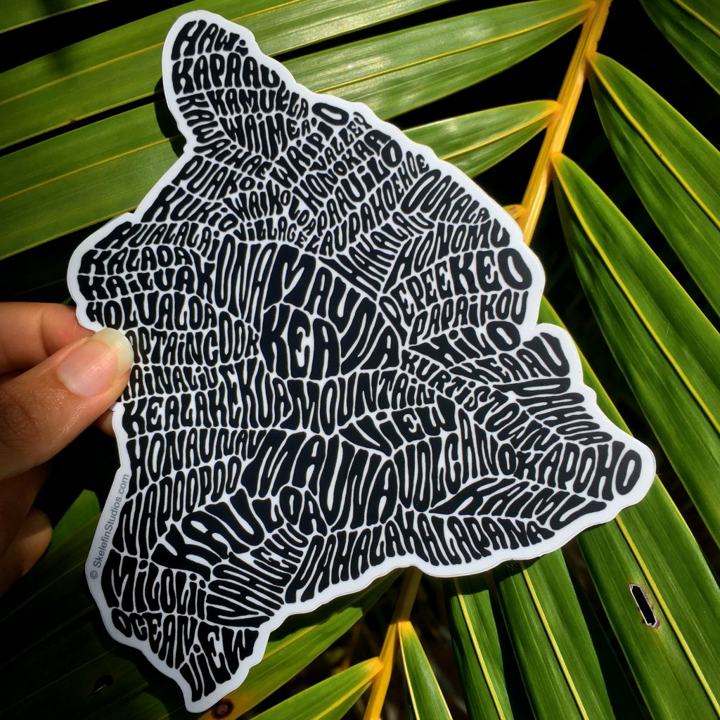 Big Island sticker available on her online store, as well as Maui and O'ahu stickers. More to be added soon. Photo Courtesy Amanda Joy Bowers