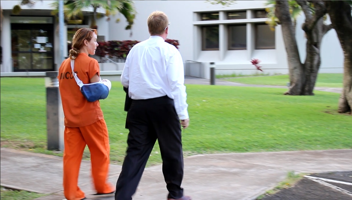 Alexandria Duval (Alison Dadow) (left) was released at the Maui Police Department Wailuku Station this evening. (6.8.16) She then proceeded to MCCC to pickup her belongings. Her attorney Todd Eddins is pictured here (right).