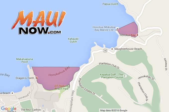 Google map. Honokahua and Honolua Bay brown water advisories.