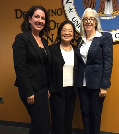 Left to right: Isla Young, Maui Economic Development Board K-12 STEM Education Director, Senator Hirono, and Leslie Wilkins, MEDB Vice President and Women in Technology Program Director. Photo Courtesy.