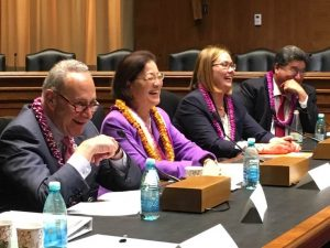 (From left)Sen. Charles Schumer (D-NY), Sen. Mazie Hirono, US Department of Agriculture Deputy Under Secretary for Farm and Foreign Agricultural Services Alexis Taylor, and Hawai'i State Senate President Ron Kouchi. US Senate photo.