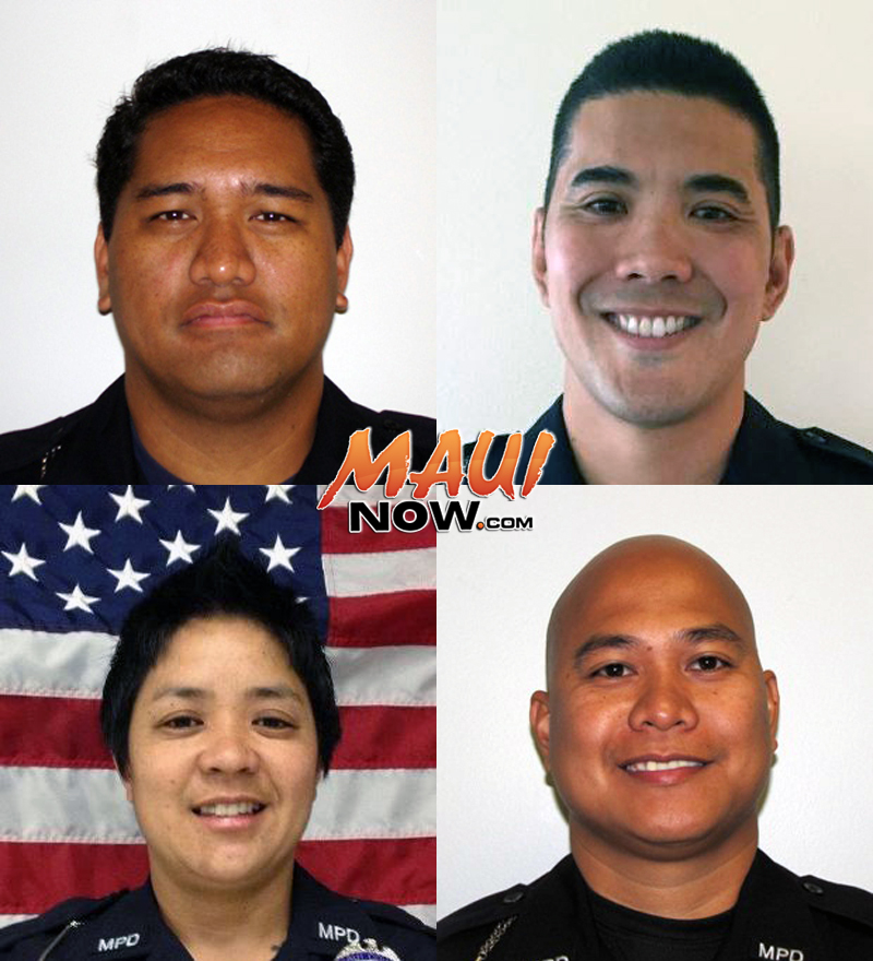 Four Maui Police Department Officers were promoted to the rank of Sergeant including: John K. Sang (top left), Eduardo Bayle Jr. (bottom right), Jan Pontanilla (bottom left) and Grant Nakamura (top right).