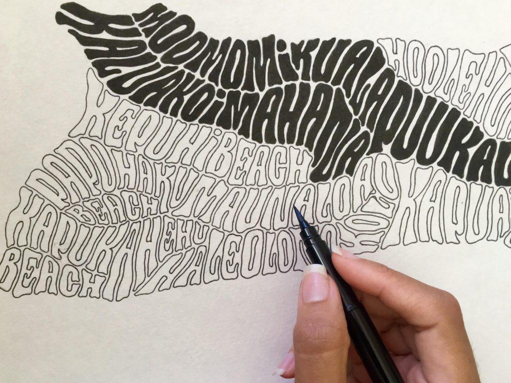 Bowers shows her process while finishing her Moloka'i piece. Photo Courtesy Amanda Joy Bowers