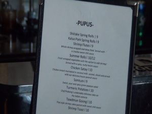 Pūpū menu at The Brasserie in Kīhei. Photo by Kiaora Bohlool.