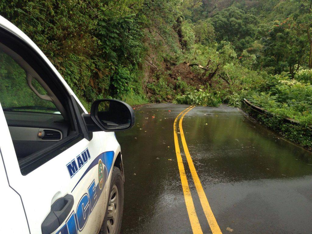 Hana Hwy landslide at Wailua. Photo credit Boeche ʻOhana.
