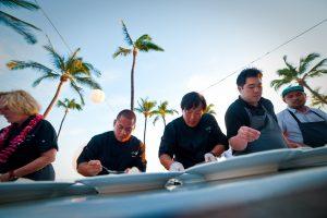 Chefs craft food at the Hawai'i Food & Wine Festival. Courtesy photo.