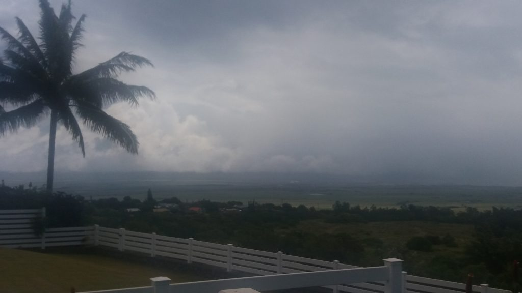 TS Darby Storm impacts in Pukalani, Maui at 1:30 p.m. 7.23.16. Vantage towards Kahului (Central Maui). Photo credit: Renee Smith