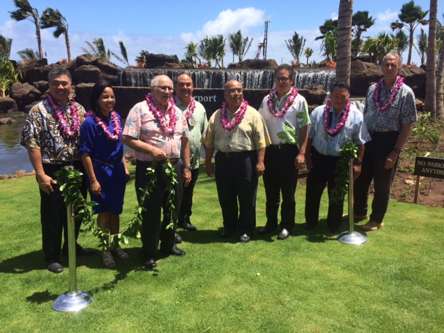 From left to right: Deputy Director Ross Higashi, Governor Ige's Spokewoman, Joseph Souki, Honorable Guest, Senator Gilbert S.C. Keith-Agaran, Senator J. Kalani English, Mayor Alan Arakawa and Gerry Majkut. Photo Courtesy