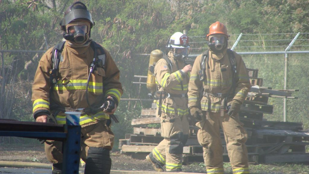 Maui fire department training in Kahului. File photo July 2011, by Wendy Osher.