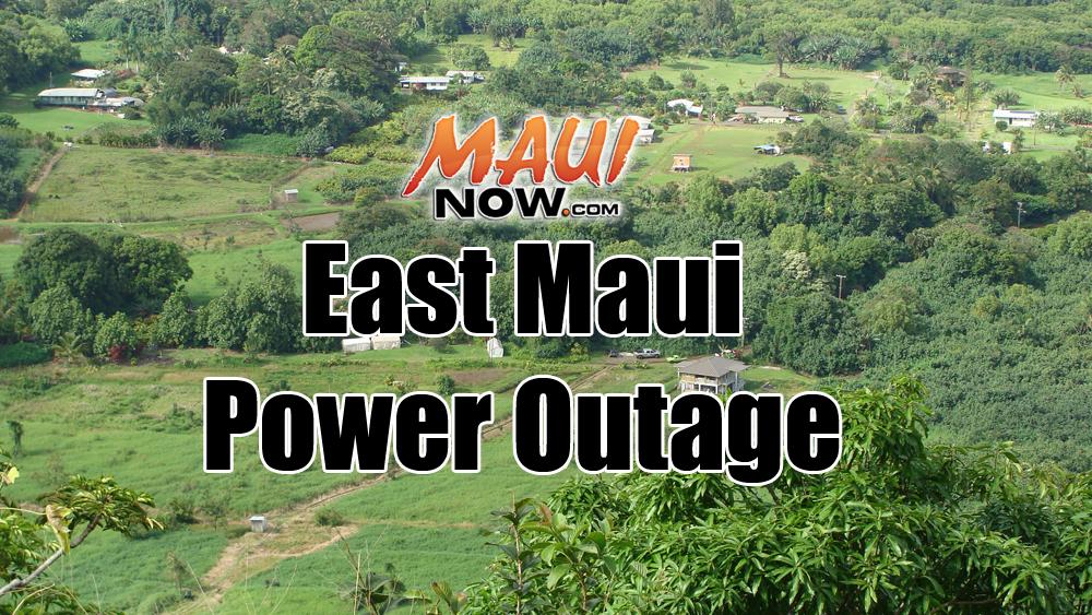 East Maui Power Outage. Maui Now image.