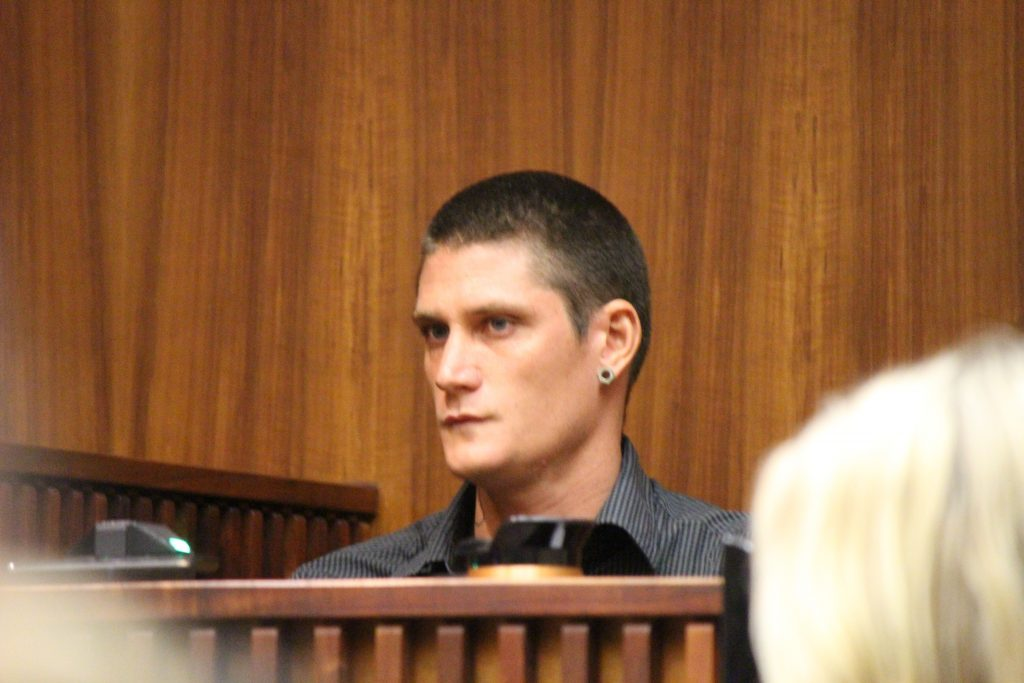 Max Jones, ex-boyfriend of Fiona Wais, testified in the murder trial of Steven Capobianco on Wednesday, July 20, 2016. Photo by Wendy Osher.